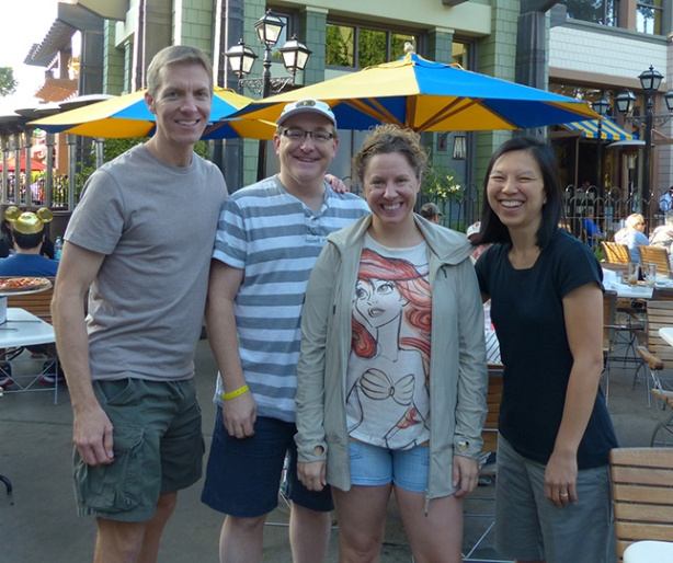 Mike Sohaskey, Wally, Larissa & Katie Ho at Downtown Disney
