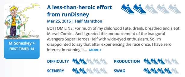 Mike Sohaskey - RaceRaves rating for Avengers Half Marathon