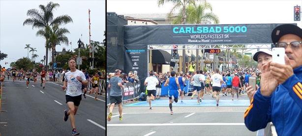 Mike Sohaskey at finish of 2015 Carlsbad 5000