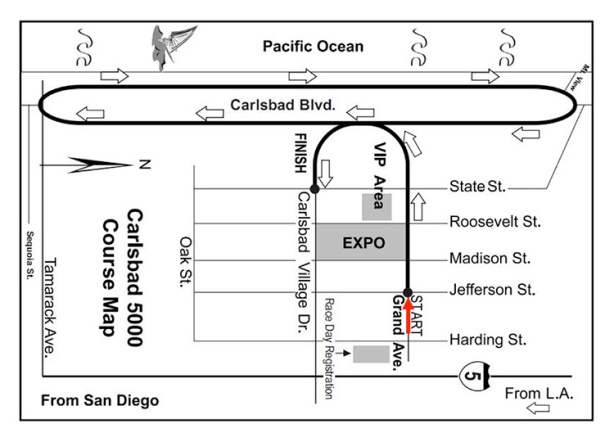 2015 Carlsbad 5000 course map (image courtesy of Toni Reavis)