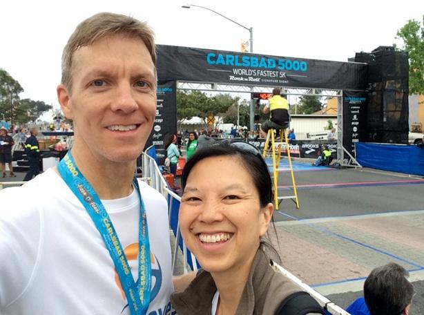 2015 Carlsbad 5000 finish line selfie - Mike Sohaskey & Katie Ho