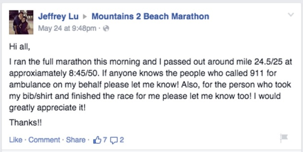 Post-race on Facebook