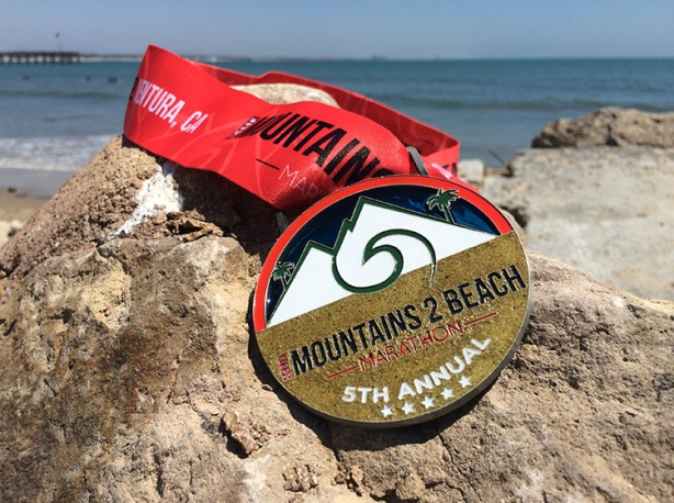2015 Mountains 2 Beach Marathon medal