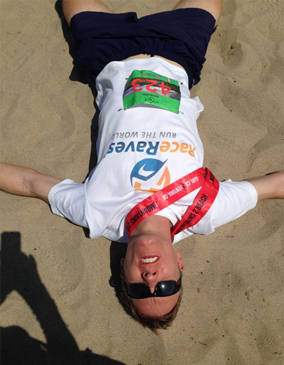 Mike Sohaskey - after qualifying for Boston at Mountains 2 Beach Marathon