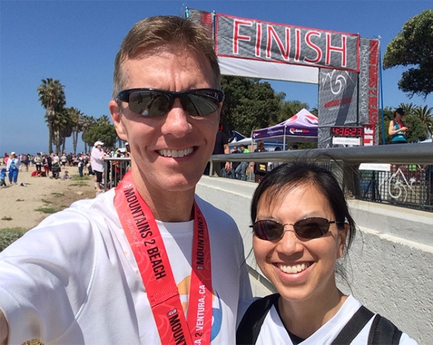 Mike Sohaskey & Katie Ho - Mountains 2 Beach Marathon finish line