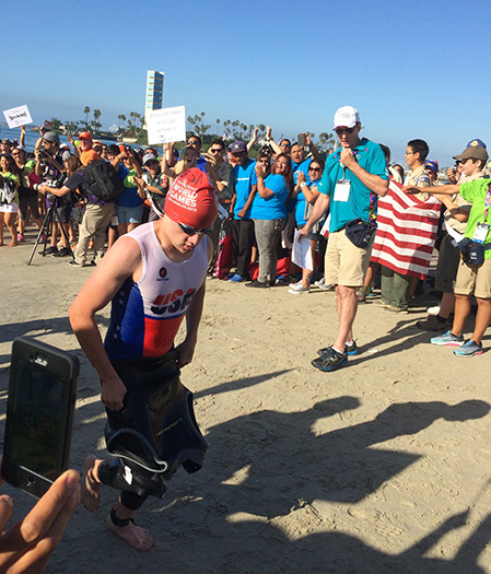 Noah Dellas - Special Olympics World Games triathlon winner, in the transition