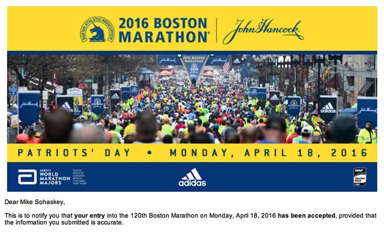 Boston Marathon acceptance email
