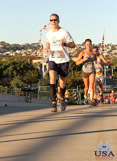 Mike Sohaskey ascending the Halsey Road Bridge in mile 10 of the Inaugural USA Half Marathon Invitational