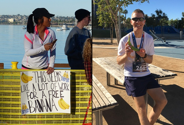 Free banana sign at Inaugural USA Half Marathon Invitational
