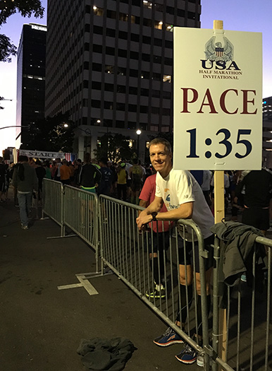 Mike Sohaskey in start corral for Inaugural USA Half Marathon Invitational