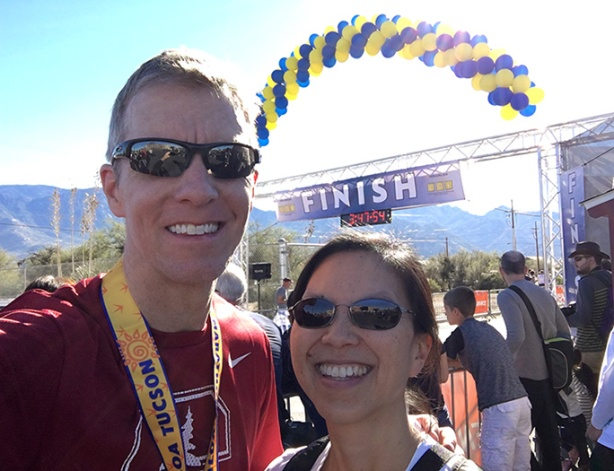 Mike Sohaskey & Katie Ho at Tuscon Marathon finish