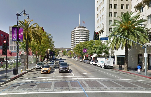 Los Angeles Marathon course - view of Capitol Records Building from Hollywood & Vine