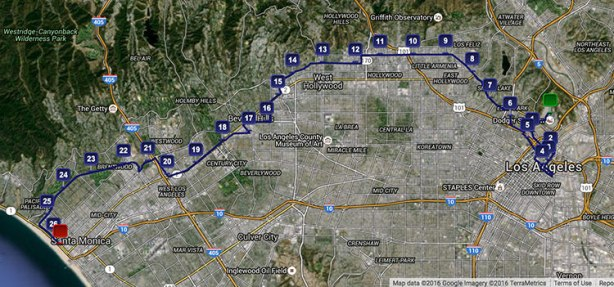 Los Angeles Marathon Stadium-to-the-Sea course map