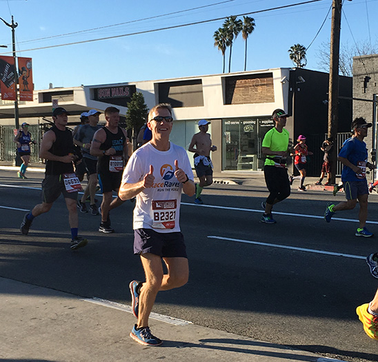 Mike Sohaskey at Mile 7 of Los Angeles Marathon 2016