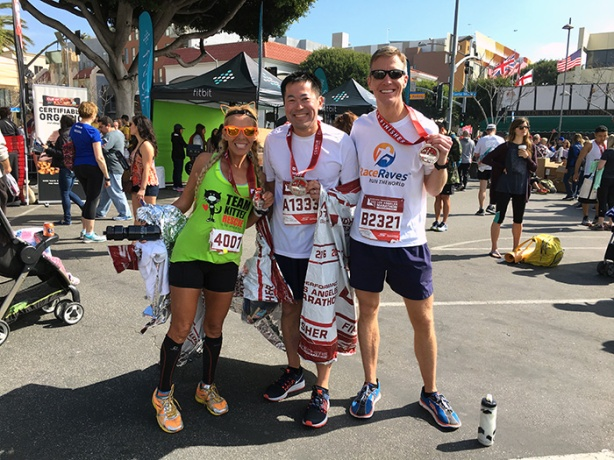 Mike Sohaskey with Paul & Laura at Los Angeles Marathon Finish Festival