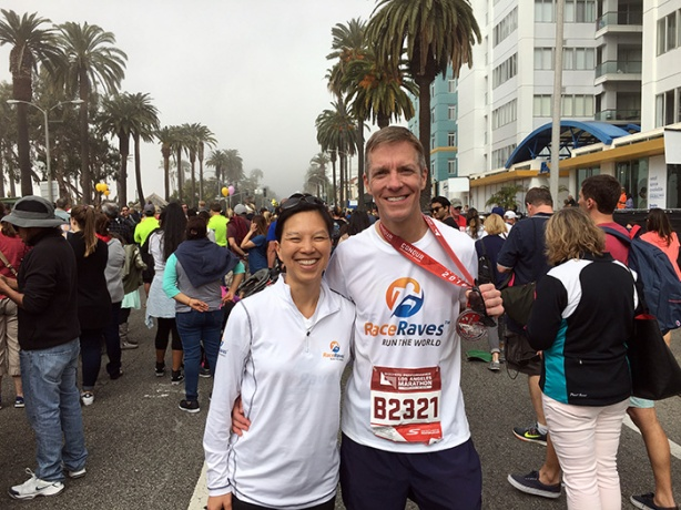 Mike Sohaskey and Katie Ho at Los Angeles Marathon finish line