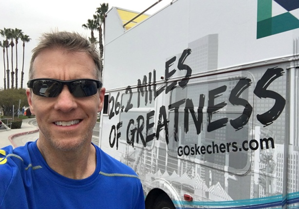 Mike Sohaskey with Skechers Los Angeles Marathon bus wrap