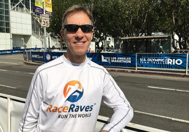 Mike Sohaskey spectating at the Olympic Marathon Trials in Los Angeles 2016