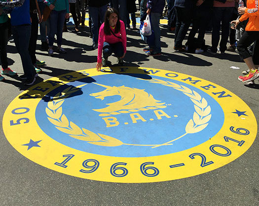 50 Years of Women logo at Boston Marathon