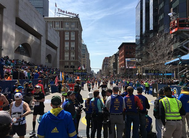 Boston Marathon finish line shot