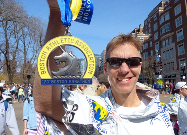Mike Sohaskey with Boston Marathon medal 2016