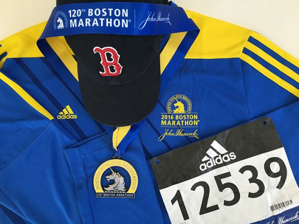 2016 Boston Marathon medal, finisher's shirt & bib