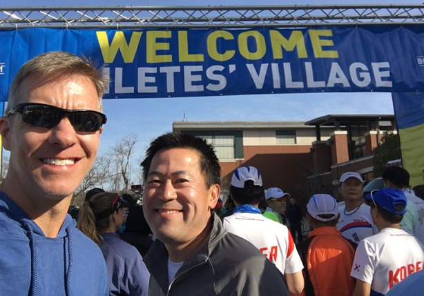 Mike Sohaskey & Paul Ishimine at Boston Marathon Athletes Village