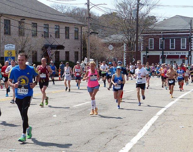 Mike Sohaskey at Mile 16 in Newton at Boston Marathon