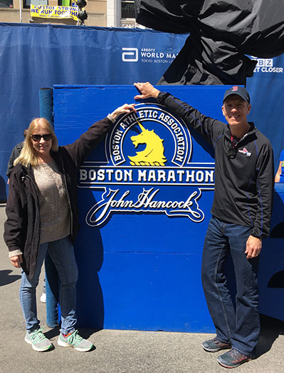 Sandy Pitcher & Mike Sohaskey at Boston Marathon finish
