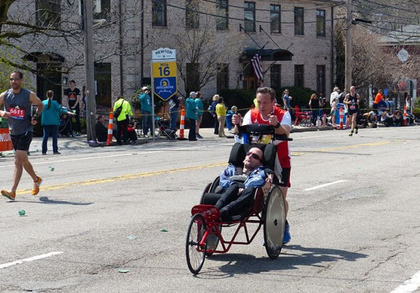 Team Hoyt in Newton at mile 16 of Boston Marathon