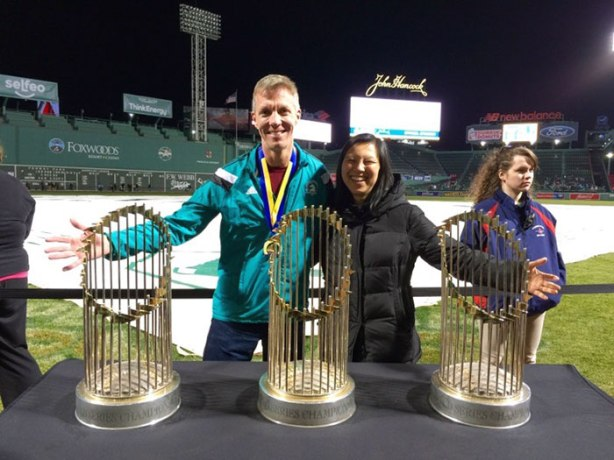 Mike Sohaskey & Katie Ho with Red Sox World Series trophies