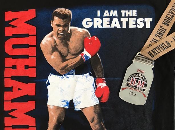 Muhammad Ali tee + Hatfield McCoy Marathon medal