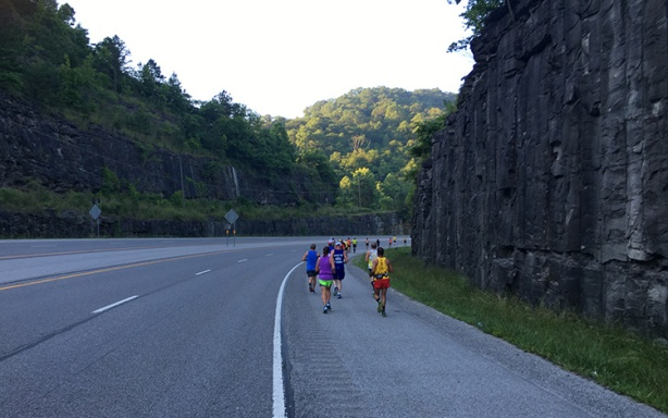 Mile 2 rock walls at Hatfield McCoy Marathon