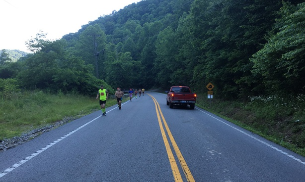 The Hill at mile 8 - Hatfield McCoy Marathon
