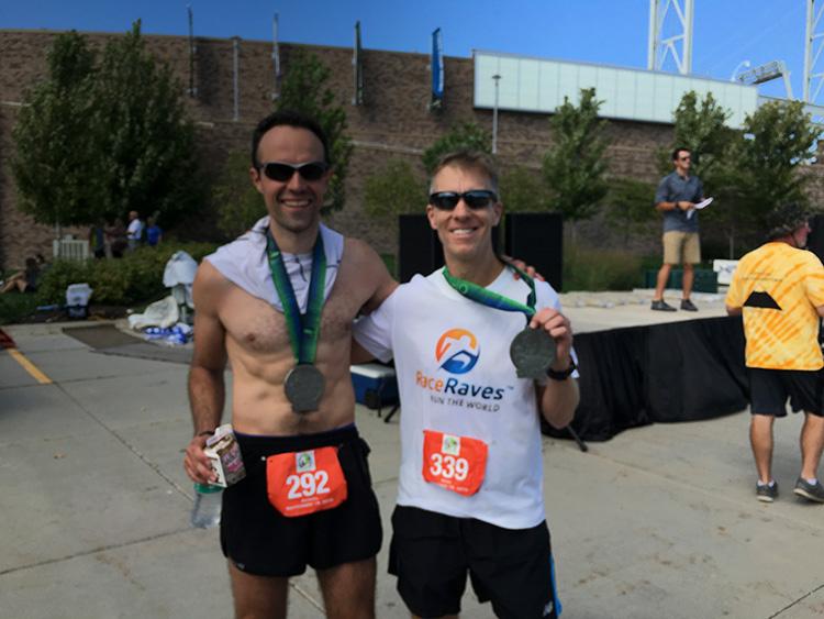 Omaha Marathon finish shot - Dan Solera & Mike Sohaskey