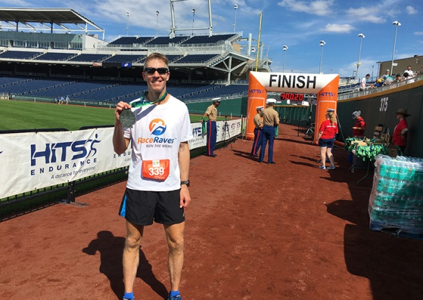 Mike Sohaskey at Omaha Marathon finish