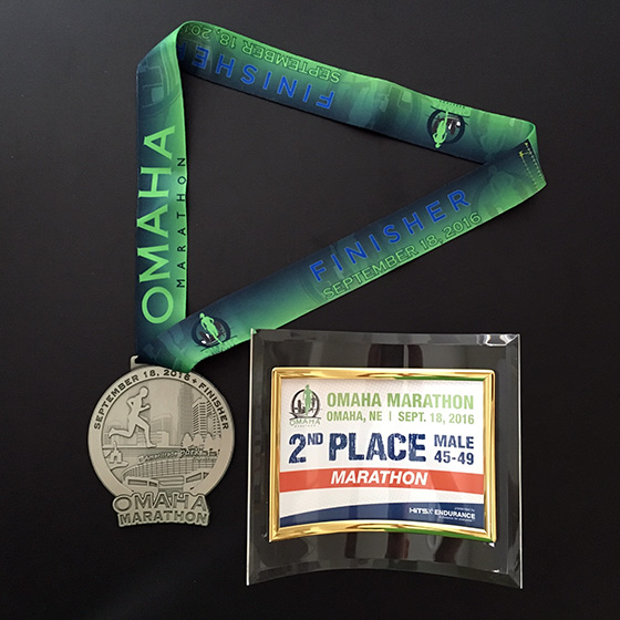Omaha Marathon medal and age group award