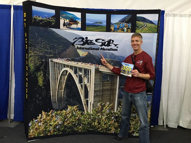 Mike Sohaskey at Big Sur International Marathon bib pickup
