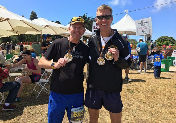 Mike Sohaskey and Mike Beckwith at Big Sur finish_bch