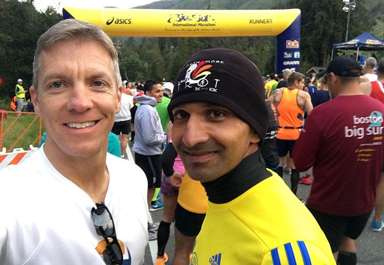 Mike Sohaskey & Krishna Keelapatla at start of Big Sur Marathon 2016