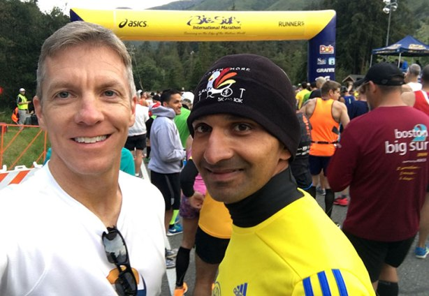Mike Sohaskey & Krishna Keelapatla at start of Big Sur Marathon 2016