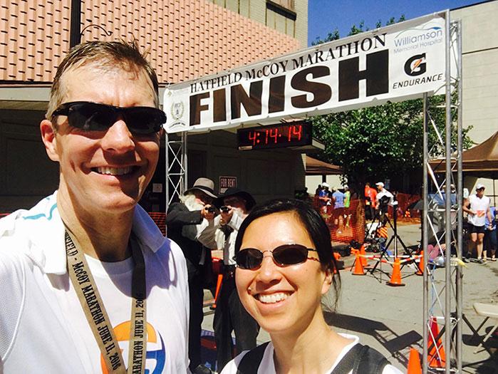 Mike Sohaskey & Katie Ho Hatfield McCoy Marathon finish selfie