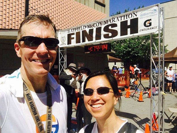 Mike Sohaskey & Katie Ho Hatfield McCoy Marathon finish selfie