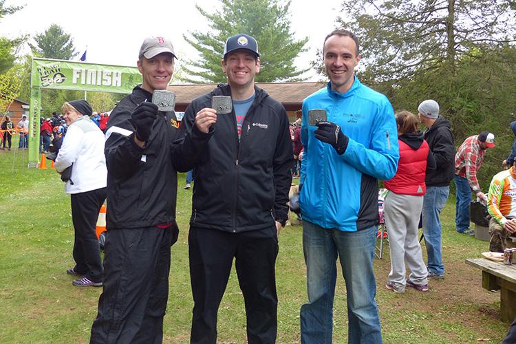 Ice Age Trail 50 finish shot - Mike Sohaskey, Dan Otto, Dan Solera