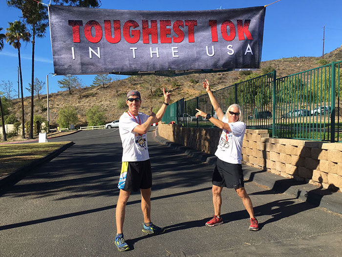 Mike and Chuck Sohaskey at finish of Toughest 10K in the USA