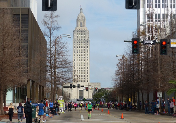 Louisiana Marathon finish line homestretch