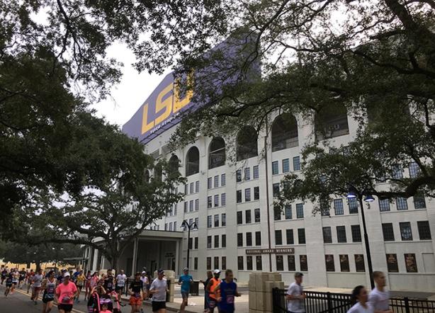 Louisiana Marathon running by Tiger Stadium at LSU