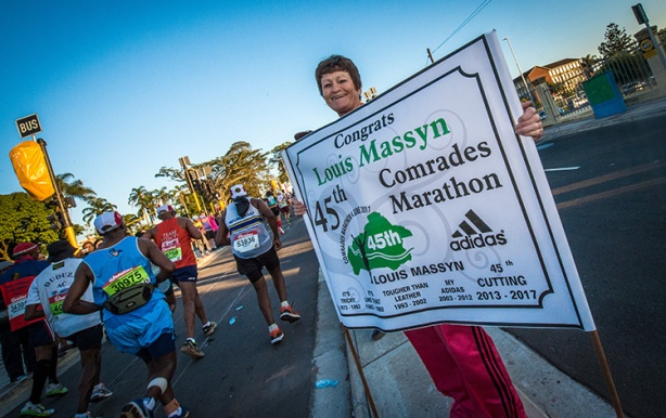 Congrats on 45 Comrades Marathons sign