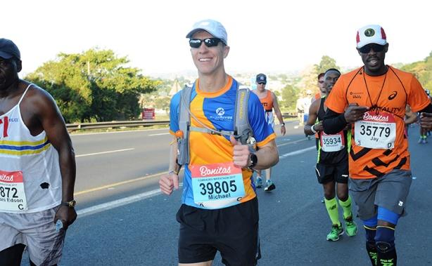 Mike Sohaskey running strong at the 2017 Comrades Marathon