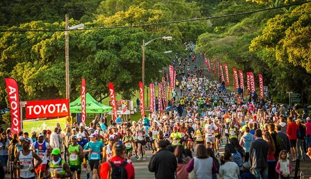 Runners in Toyota Zone at 2017 Comrades Marathon